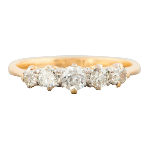Antique 18ct Gold 5 Stone 0.45 Carat Diamond Ring