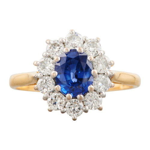 Second Hand 18ct Gold 1 Carat Sapphire and Diamond Cluster Ring