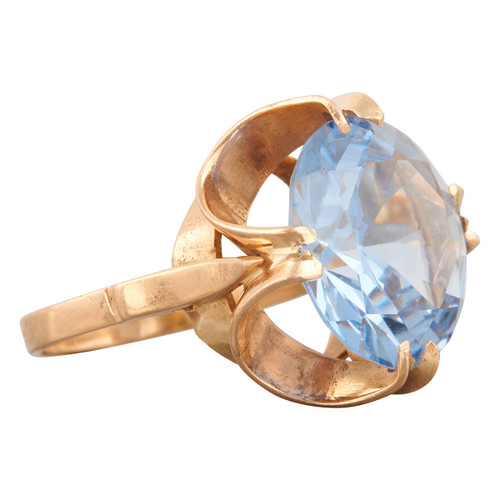 Second Hand 1970s 18ct Gold Large Blue Topaz Ring