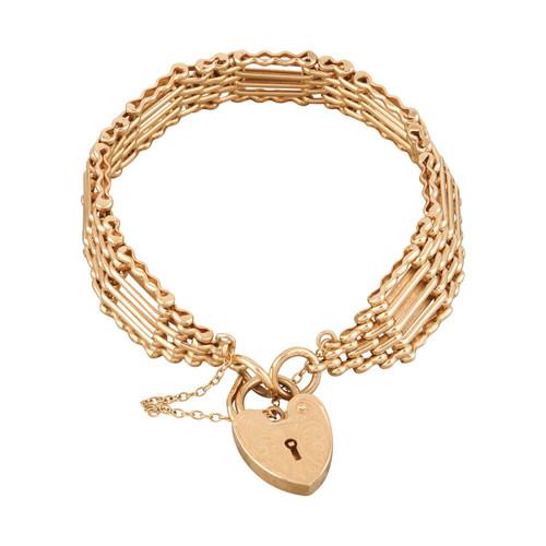 Second Hand 9ct Gold 5 Bar Gate Bracelet and Heart Padlock