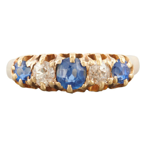 Antique Victorian 18ct Gold Sapphire and Diamond Half Hoop Ring