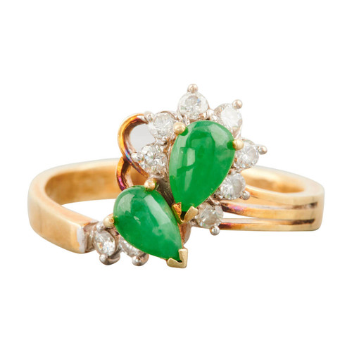Second Hand 14ct Gold Jade and Diamond Dress Ring