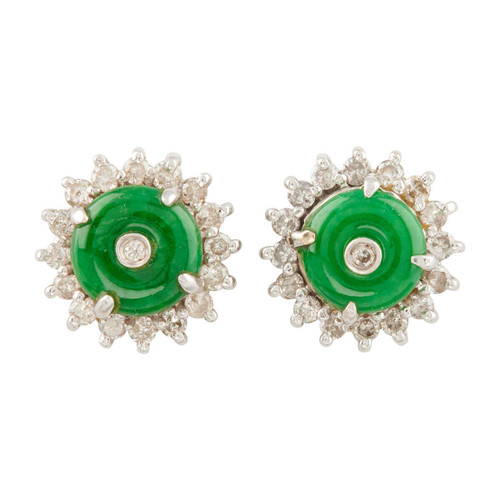 Second Hand 18ct White Gold Imperial Green Jade and Diamond Cluster Earrings