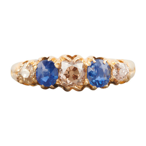 Antique 18ct Gold Sapphire and Diamond 5 Stone Half Hoop Ring