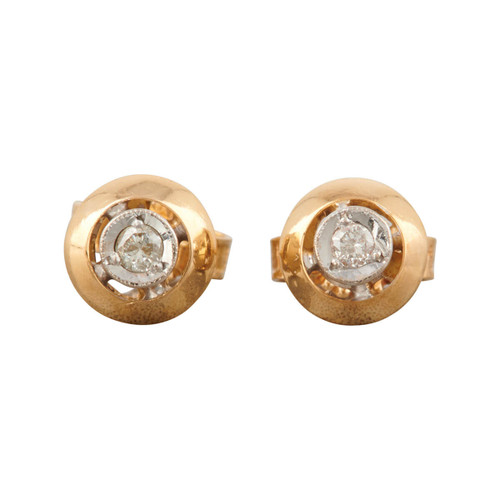 Second Hand 18ct 2 Colour Gold Diamond Stud Earrings
