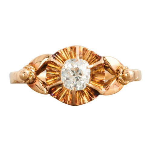 Antique Edwardian 18ct Gold Diamond Solitaire Engagement Ring