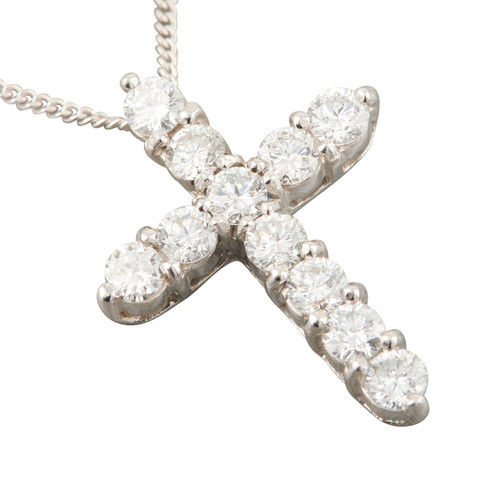 Second Hand 18ct White Gold 1.65 Carat Diamond Cross Pendant and Chain