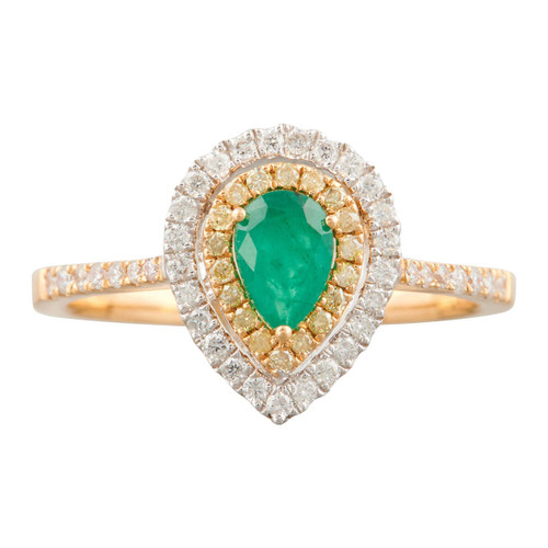 Second Hand 18ct Gold Pear Shaped Emerald and Diamond Halo Cluster Ring