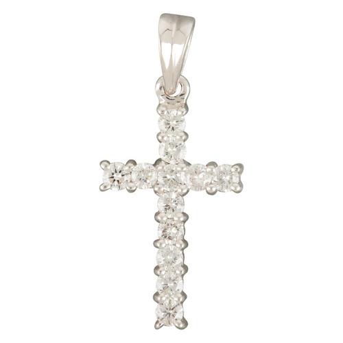 Second Hand 18ct White Gold 0.50 Carat Diamond Cross Pendant