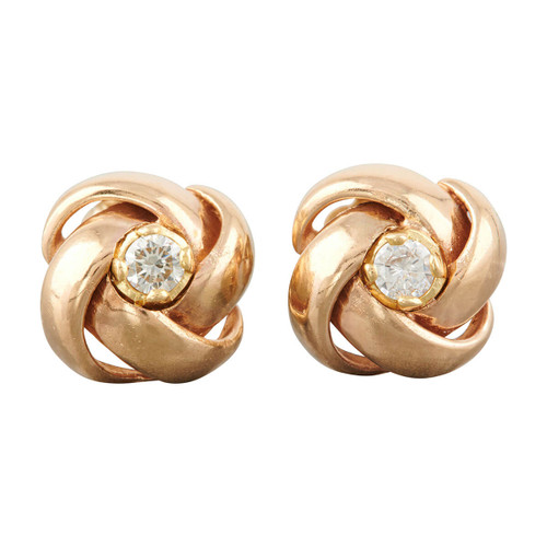 Second Hand 9ct Gold Twisted Dome Diamond Stud Earrings