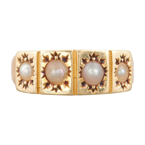 Antique Victorian 15ct Gold 4 Stone Pearl Ring
