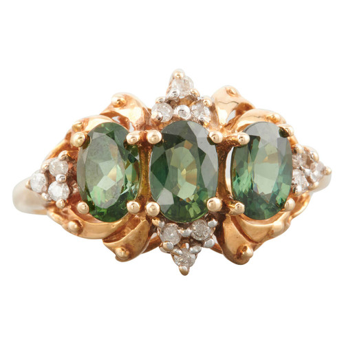 Second Hand 14ct Gold Diopside and Diamond Dress Ring