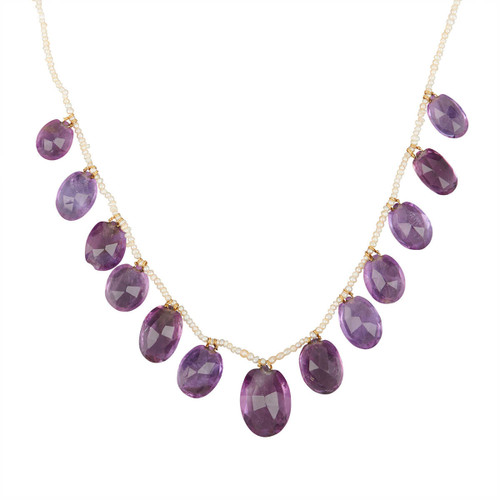 Antique 15ct Gold Amethyst and Seed Pearl Choker Necklace