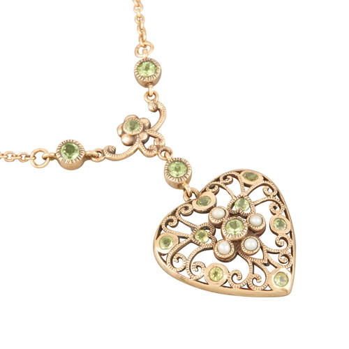 Antique Edwardian 9ct Gold Peridot and Pearl Heart Necklace