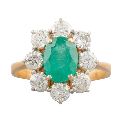Second Hand 18ct Gold 1.50 Carat Emerald and Diamond Cluster Ring