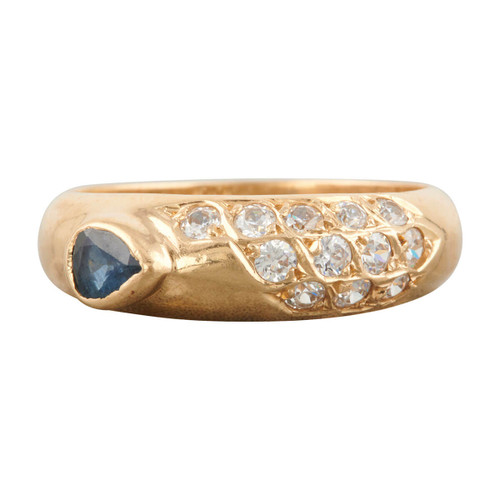 Second Hand 14ct Gold Sapphire and Diamond Band Ring