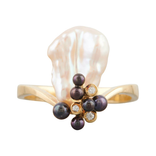 Second Hand 14ct Gold Baroque & Black Pearl with Diamonds Dress Ring