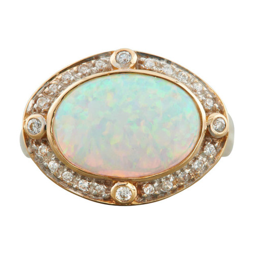 Second Hand 14ct Gold Art Deco Style Opal and Diamond Cluster Ring