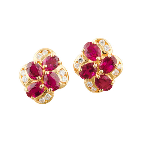 Second Hand 18ct Gold 4 Stone Ruby and Diamond Stud Earrings