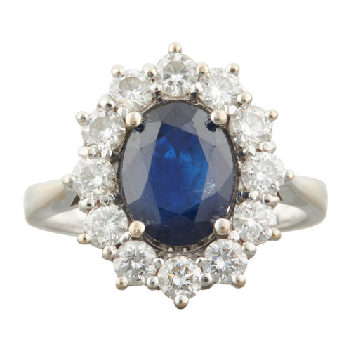 Second Hand 18ct White Gold Sapphire and Diamond Cluster Ring