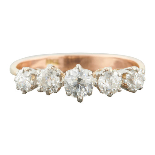 Antique 18ct Gold 0.90 Carat 5 Stone Old Cut Diamond Ring