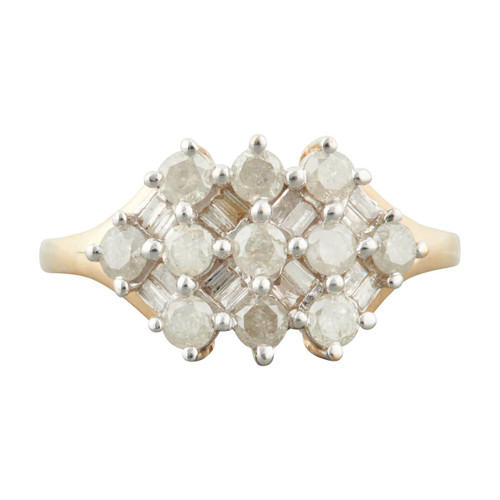 Second Hand 9ct Gold Brilliant and Baguette Cut Diamond Cluster Ring