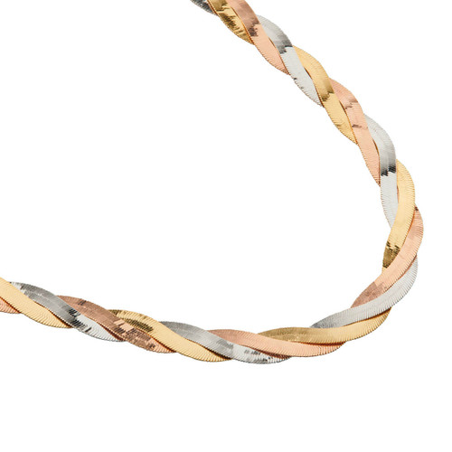 """Second Hand 18ct 3 Colour Gold 17"""" Triple Herringbone Chain Necklace"""