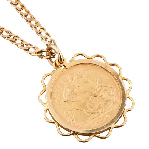 Second Hand 1906 Half Sovereign Pendant and Chain
