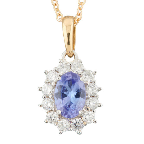 Second Hand 18ct Gold Tanzanite and Diamond Cluster Pendant and Chain