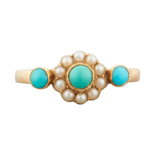 Antique 18ct Gold Turquoise and Seed Pearl Dress Ring