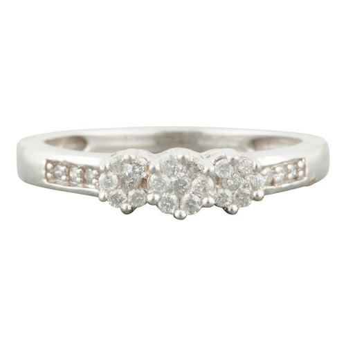 Second Hand 9ct White Gold Triple Cluster Diamond Ring