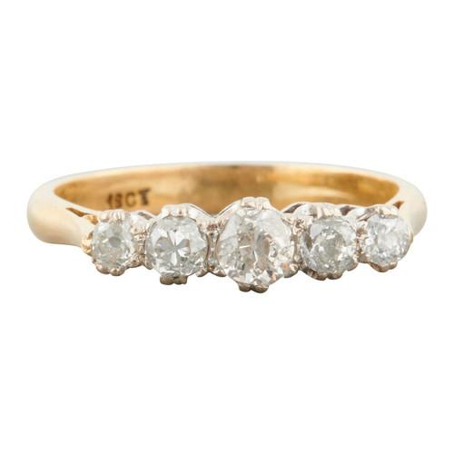 Antique 18ct Gold 0.50 Carat 5 Stone Old Cut Diamond Ring