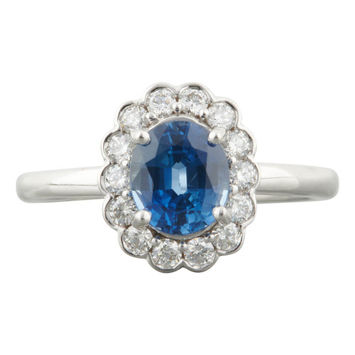 Second Hand 18ct White Gold 1.40 Carat Sapphire and Diamond Cluster Ring