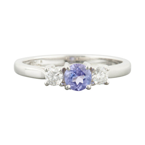 Second Hand 18ct White Gold Tanzanite and Diamond 3 Stone Trilogy Ring