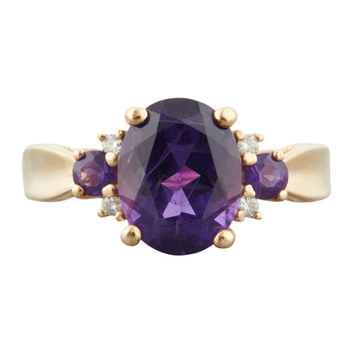 Second Hand 9ct Gold Amethyst and Diamond Dress Ring