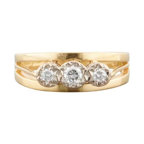 Second Hand 18ct Gold 3 Stone Diamond Openwork Ring