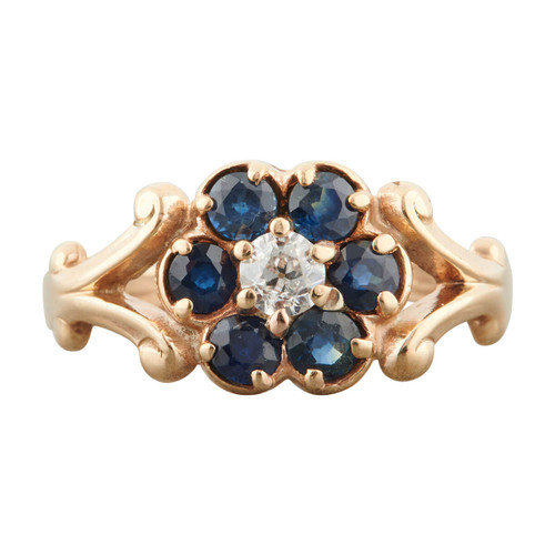 Antique 14ct Gold Sapphire and Diamond Flower Cluster Ring