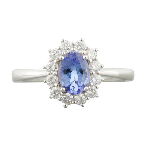 Second Hand 18ct White Gold Tanzanite and Diamond Cluster Ring