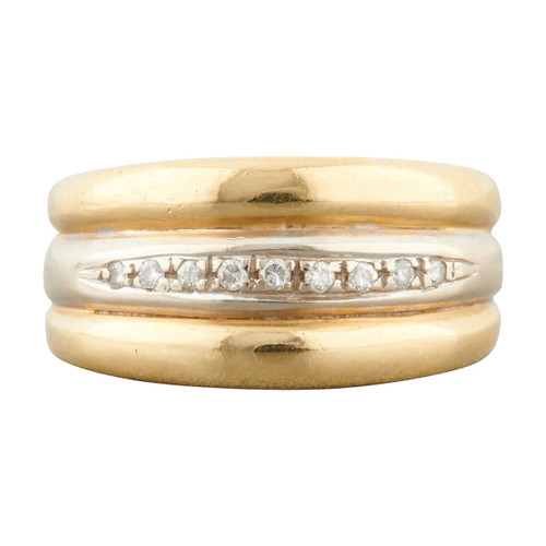 Second Hand 18ct Two Colour Gold Diamond Wide Band Ring