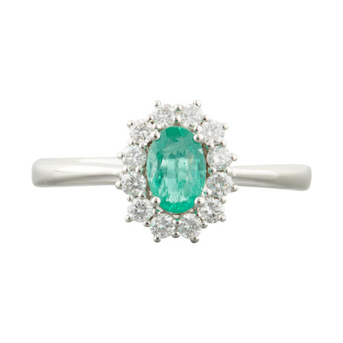 Second Hand 18ct White Gold 0.40 Carat Emerald and Diamond Cluster Ring