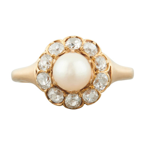 Antique 18ct Gold Natural Pearl and Old Cut Diamond Cluster Ring