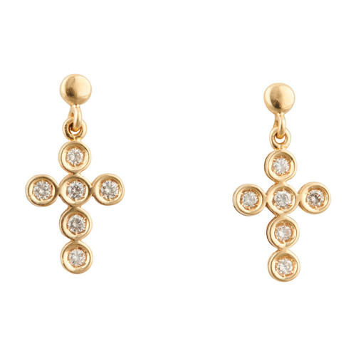 Second Hand 18ct Gold 0.50 Carat Diamond Drop Cross Earrings