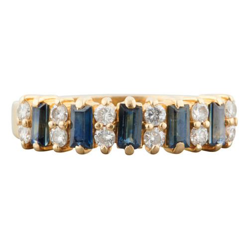 Second Hand 18ct Gold Baguette Sapphire and Diamond Eternity Ring