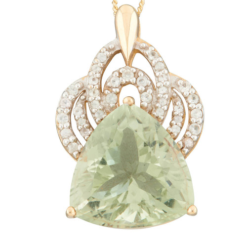 Second Hand 9ct Gold Large Trillion Cut Green Amethyst and White Sapphire Pendant
