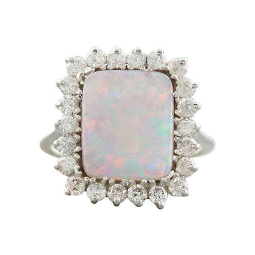 Second Hand 14ct Gold Rectangle Opal and Diamond Cluster Ring