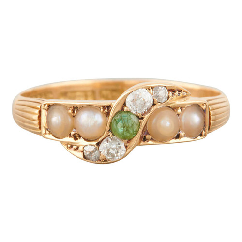 Antique 18ct Gold Emerald, Pearl and Diamond Ring