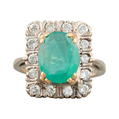 Second Hand 18ct Gold Oval Emerald & Diamond Cluster Ring
