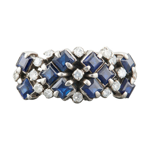 Second Hand 14ct White Gold Sapphire & Diamond Wide Cluster Ring