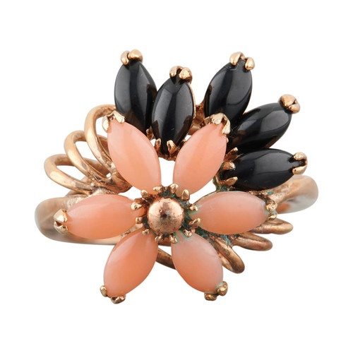 Second Hand 14ct Gold Coral & Jet Flower Ring