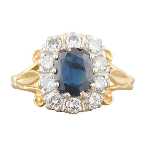 Second Hand 18ct Gold Oval Sapphire and Diamond Cluster Ring